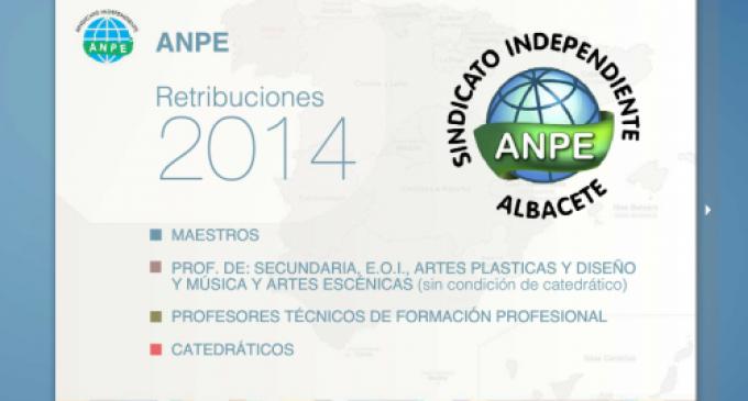 Retribuciones Docentes 2014 en Todas las Comunidades Autónomas. Recopilación ANPE