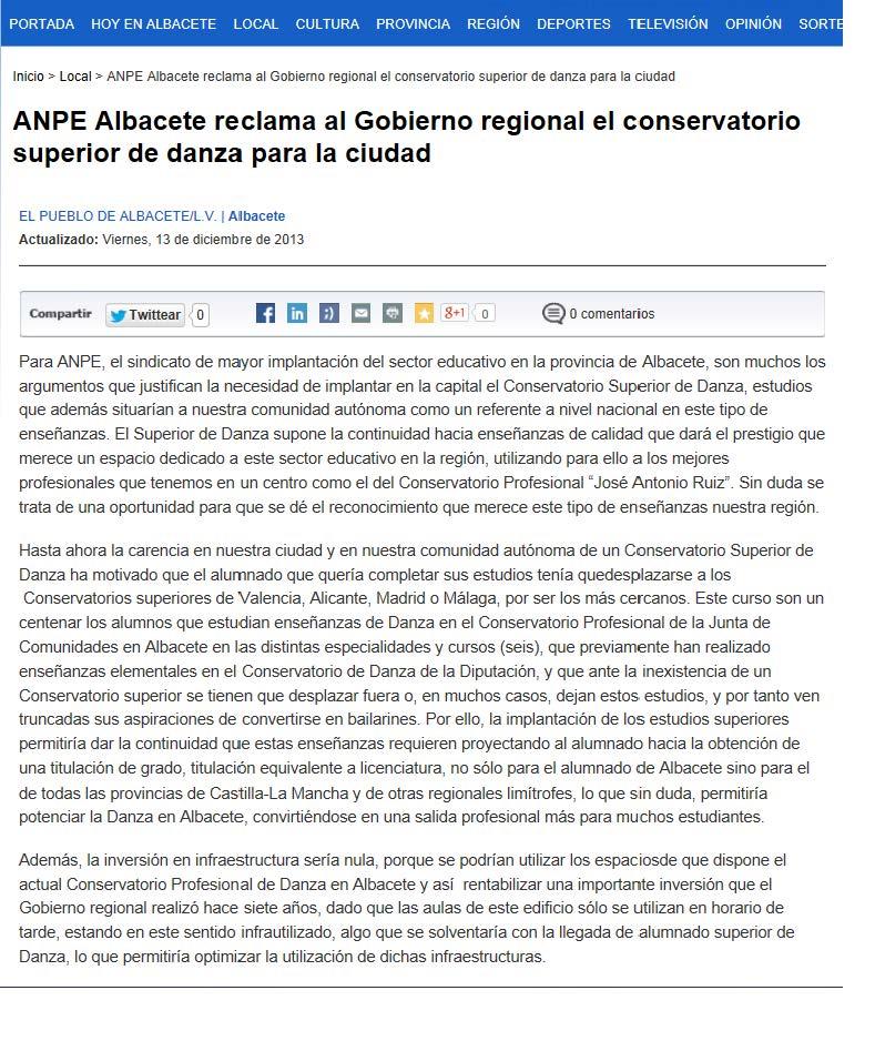 13-12-13 ANPE Albacete reclama el Conservatorio de Danza para Albacete El Pueblo
