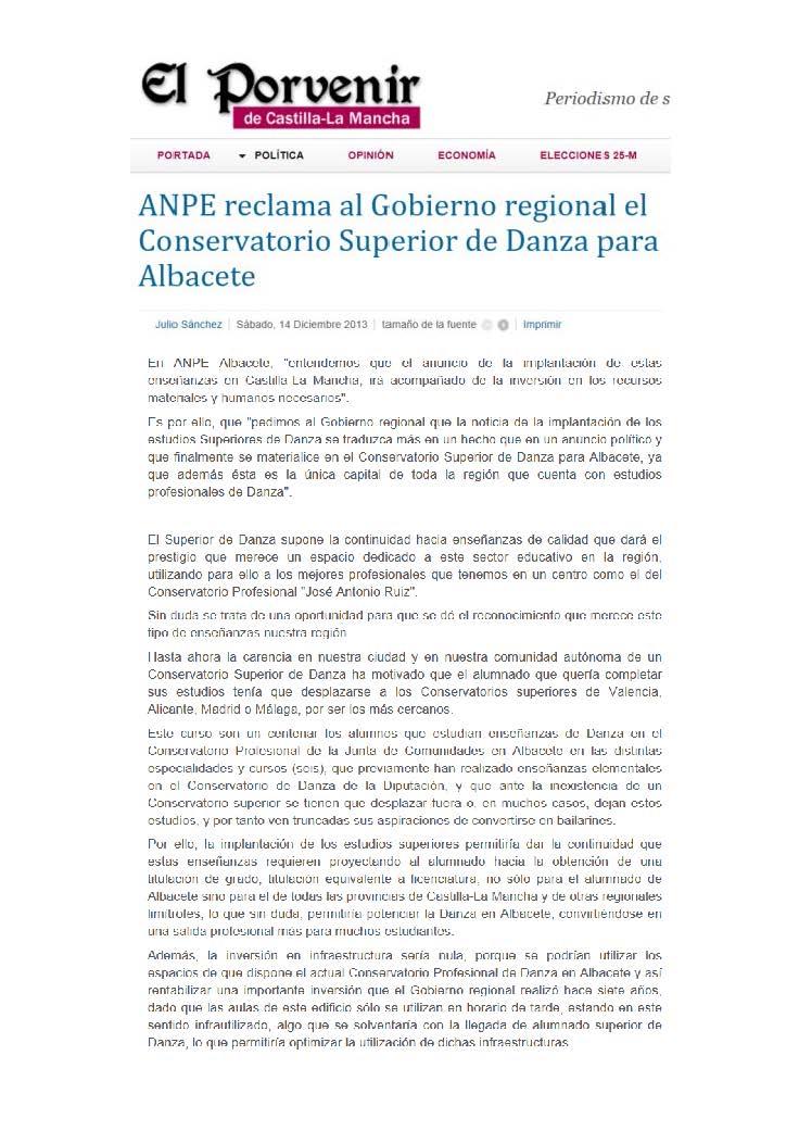 14-12-14 ANPE Albacete reclama el Conservatorio Superior de Danza para Albacete - El Porvenir de Castilla La Mancha