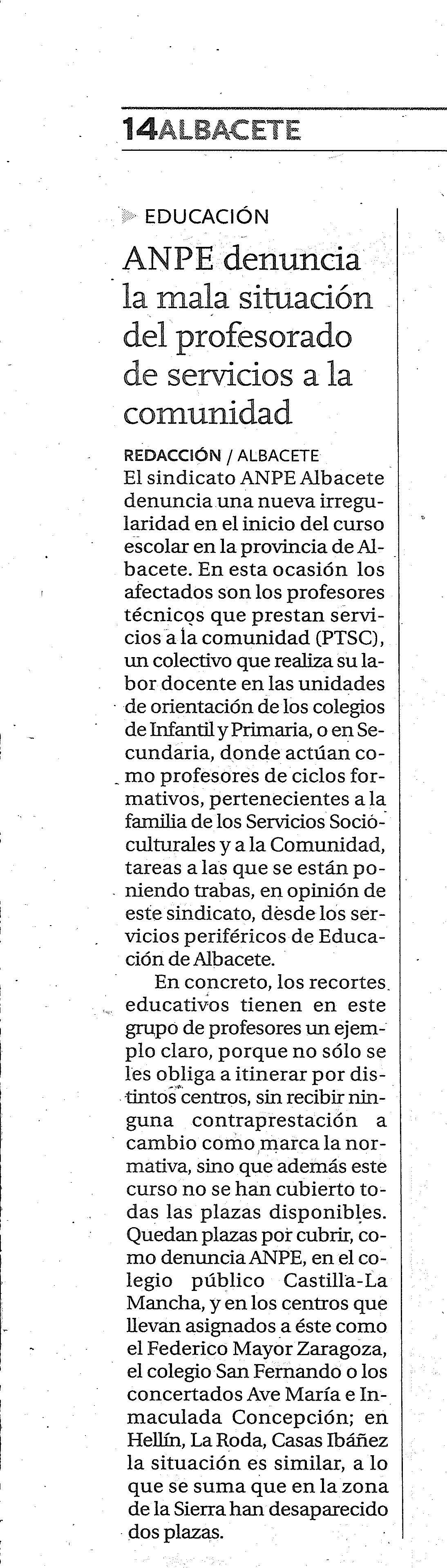 11-10-2014 ANPE Albacete Denuncia la Mala Situación de los PTSC