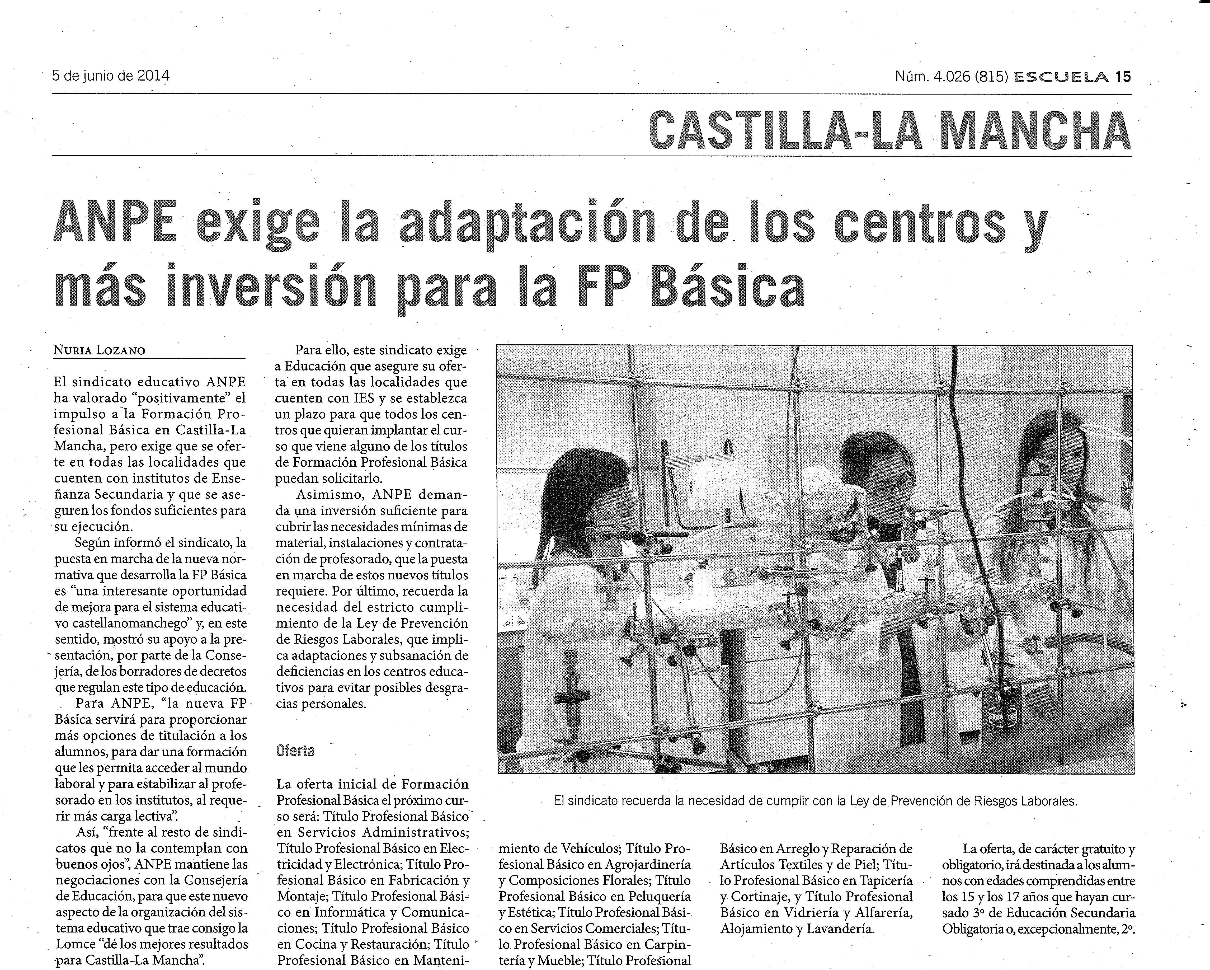 5-6-14 ANPE exige la adapatación de los centros y más inversión para la FP básica SI