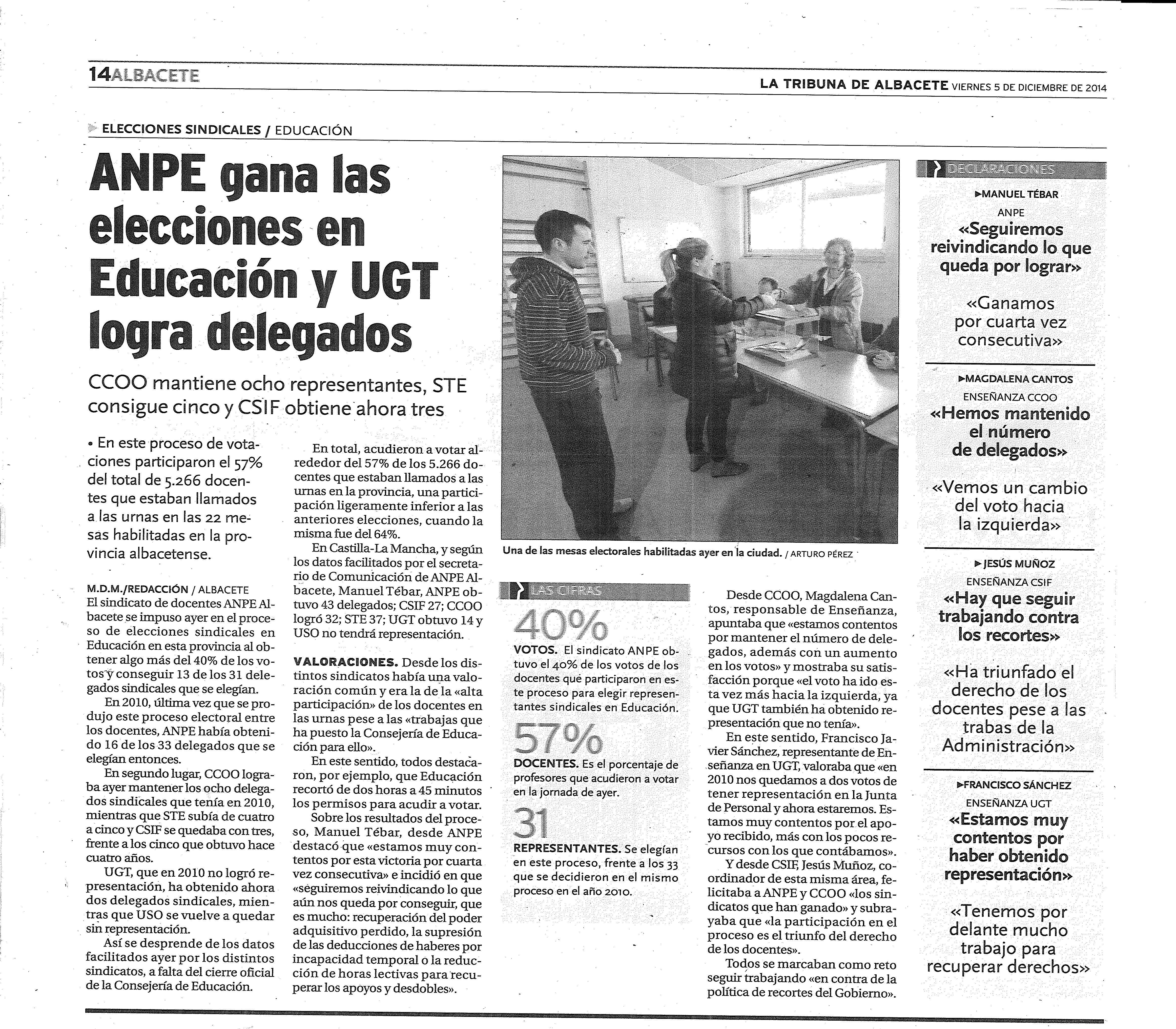 05-12-2014 ANPE Gana las Elecciones de 2014