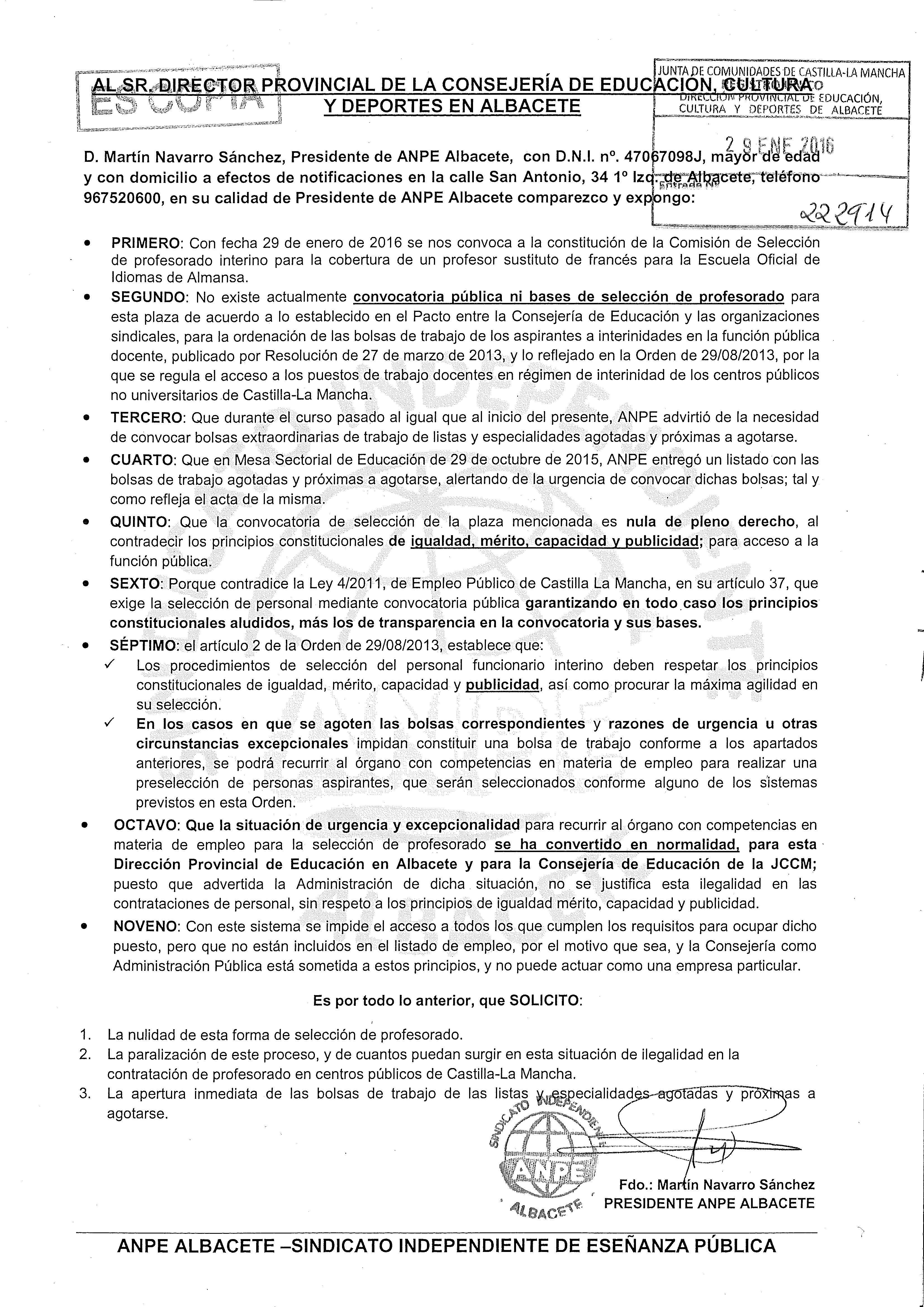 29-01-2016 Escrito Impugnación ANPE Contratación Interinos E Medias