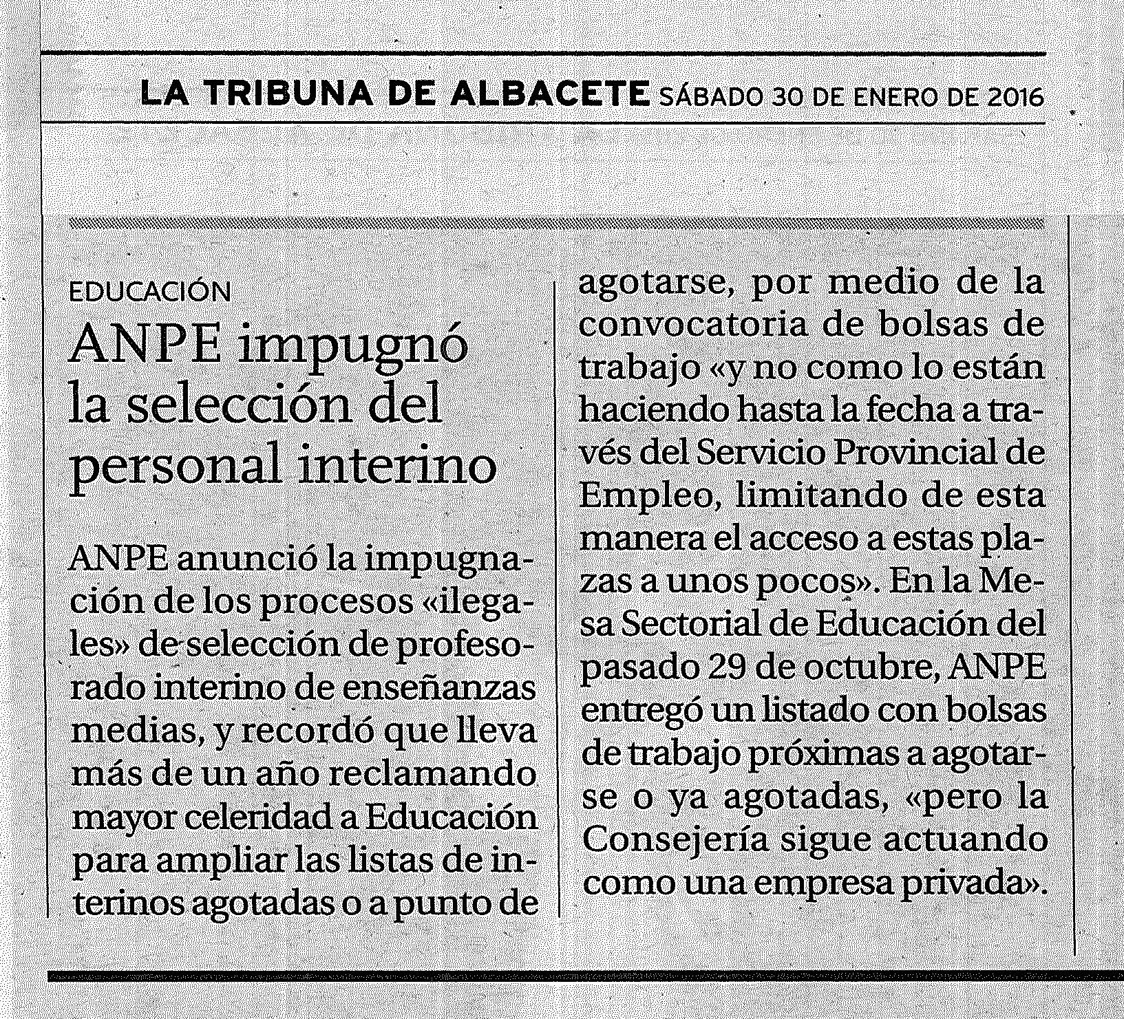 30-01-2016 ANPE Impugna las Listas