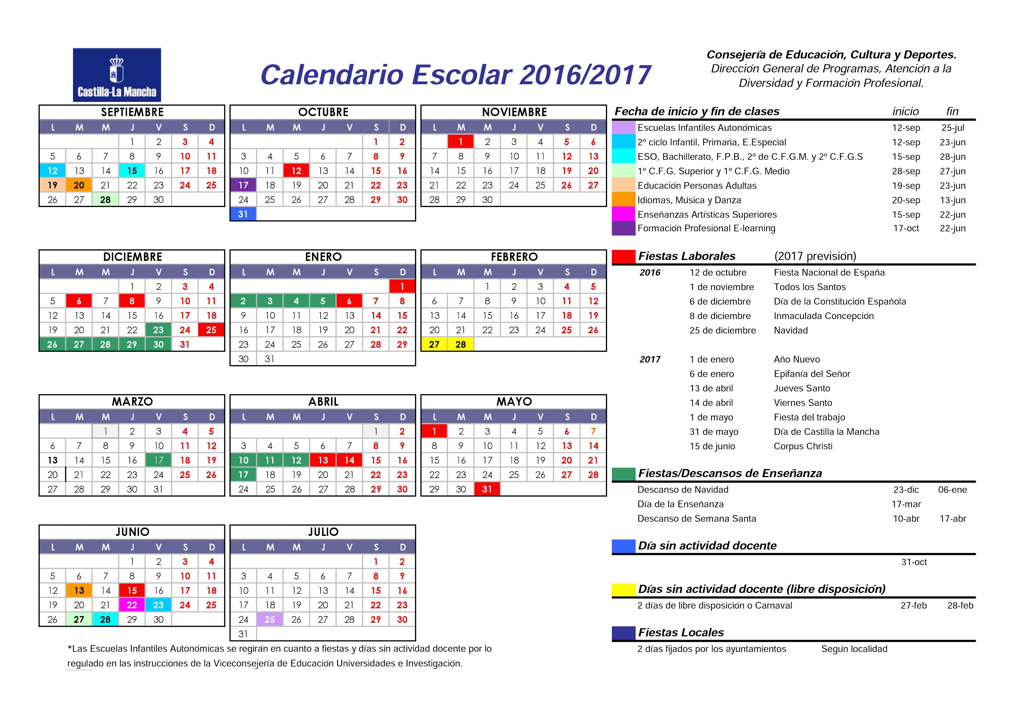 Resultado de imagen de calendario escolar castilla la mancha 2016-17