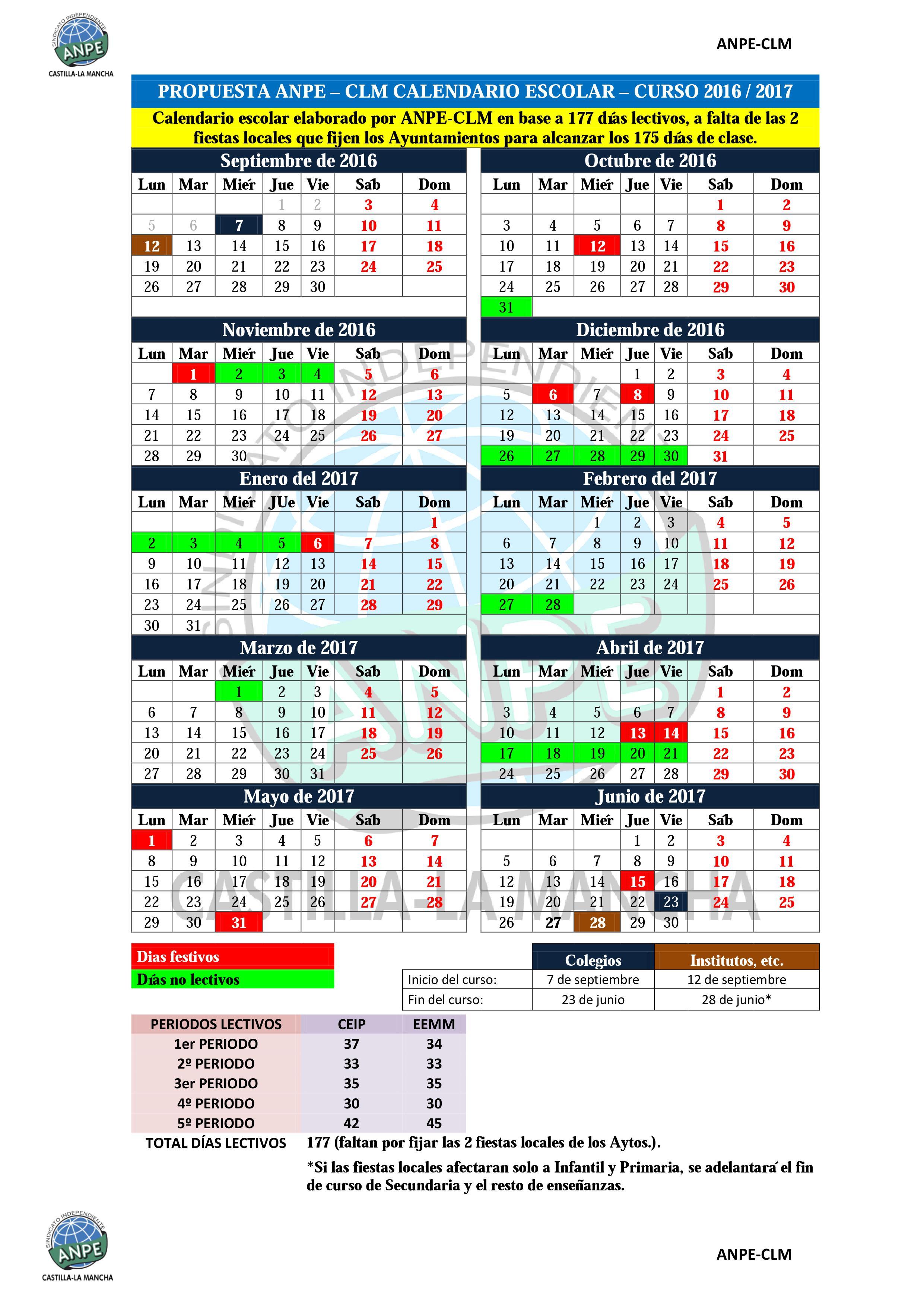 Aragon Calendario Escolar.Calendario Escolar Propuesta De Anpe Y Propuesta De La
