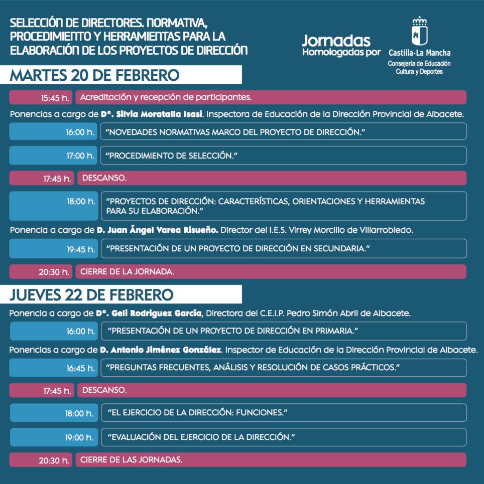 JORNADAS HOMOLOGADAS en ALBACETE: ELABORACIÓN Y DEFENSA DE LOS PROYECTOS DE DIRECCIÓN