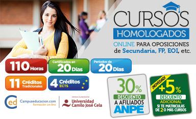 Cursos Homologados para Oposiciones especialidad SECUNDARIA, FP, Arte, etc. Cursos de 110h Homologados por la Universidad Camilo José Cela